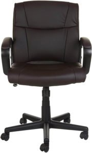 AmazonBasics Leather-Padded, Ergonomic, Adjustable, Swivel Chair
